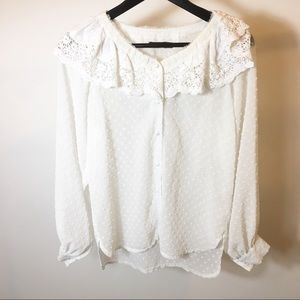 NASTY GAL white dotted blouse size 2